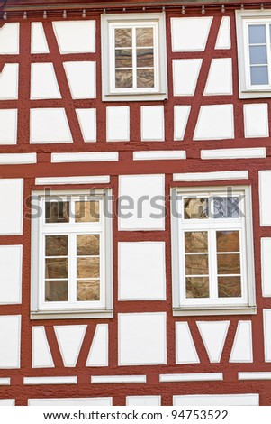 Facade of a half-timbered historic house, Germany