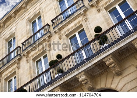 Facade of a mansion in Bordeaux, France