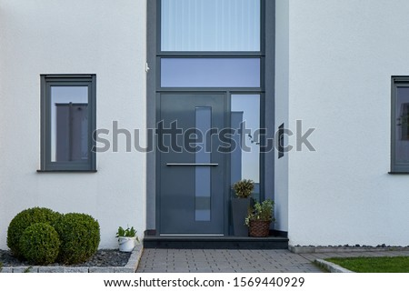 Facade of a modern house with a gray front door and potted flowers.