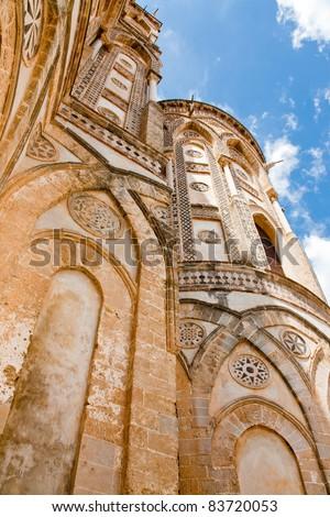 facade of apse ancient  norman cathedral - Duomo di Monreale, Sicily, Italy