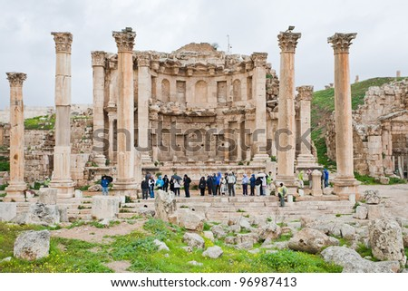facade of Artemis temple in ancient town Jerash in Jordan