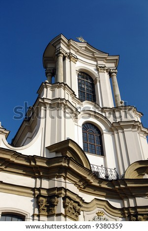Facade of baroque church of order of the Brothers of St John of God in Krakow, Poland