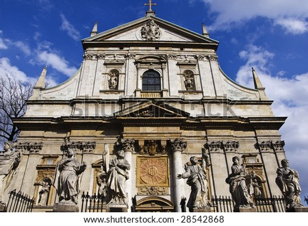 Facade of baroque Church of St Peter and St Paul in Krakow