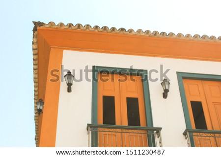 facade of brazilian colonial architecture building in Tiradentes Minas Gerais