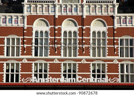 Facade of building of Central Railway Station in Amsterdam (Amsterdam Centraal), Netherlands