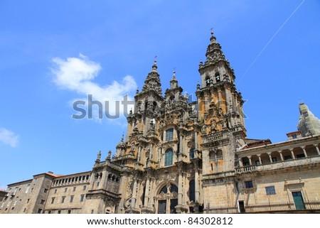 Facade of Cathedral of Santiago de Compostela facade with blue sky