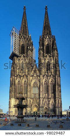 Facade of Cologne Cathedral at evening, Germany