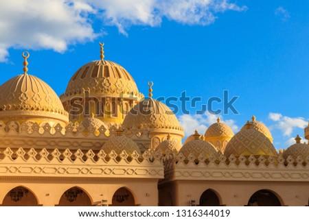 Facade of El Mina Masjid Mosque in Hurghada, Egypt #1316344019