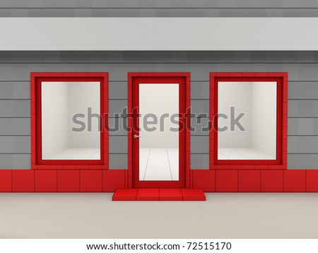 Facade of empty shop with a signboard