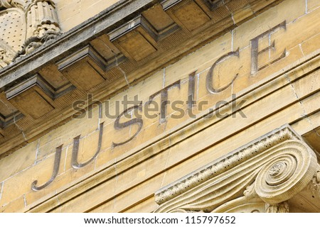 Facade of french Court House, Sarreguemines, Moselle, Lorraine, France Stock foto ©