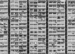Facade of high rise residential building in Hong Kong city