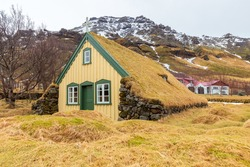 Facade of Hofskirkja, the old traditional turf church in Hof, Oraefi region, Southeast Iceland.