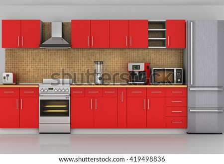 Facade of kitchen. Front view to red kitchen with appliances. 3d illustration