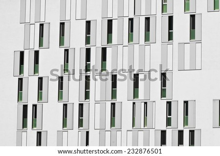 facade of modern building for residential and commercial activity