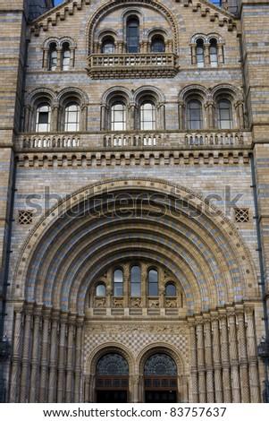 Facade of Natural History Museum, London. #83757637