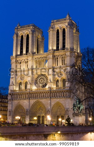 Facade of Notre Dame during twilight, Paris, France