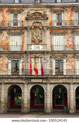 facade of old building on Plaza Mayor, Madrid, Spain