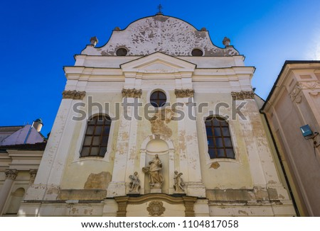 Facade of old Franciscan Church in historic part of Bratislava city, Slovakia