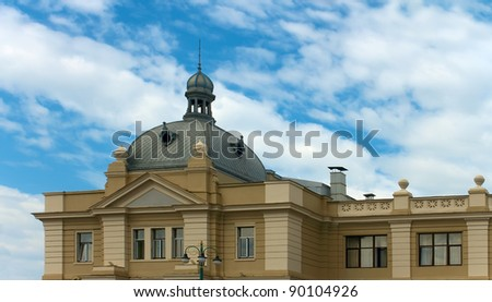 Facade of old railway station house in Lviv, Ukraine