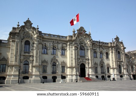 Facade of president palace in cenyet of Lima, Peru