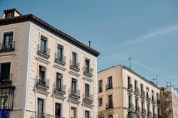 Facade of residential buildings in Madrid