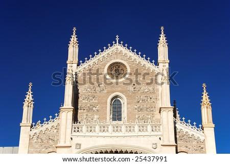 Facade of San Jeronimo el Real Church, Madrid, Spain