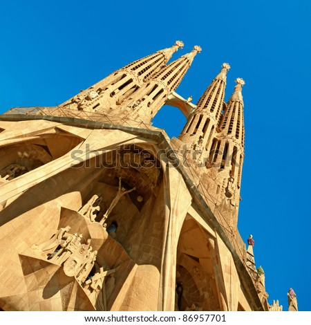 Facade of Sangrada Familia church. Barcelona - Spain.