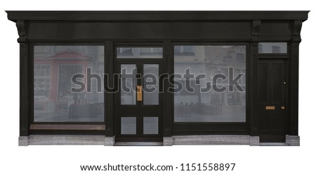 Facade of shop with black wooden facade two shop windows and two doors isolated on white background #1151558897