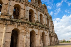 Facade of the Amphitheatre of El Jem, Tunisia. It is listed by UNESCO since 1979 as a World Heritage Site