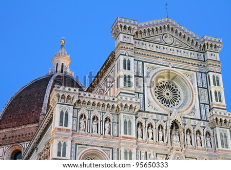 facade of the Basilica of Saint Mary of the Flower in Florence at sunset time light,  UNESCO World Heritage Site, Italy, Europe