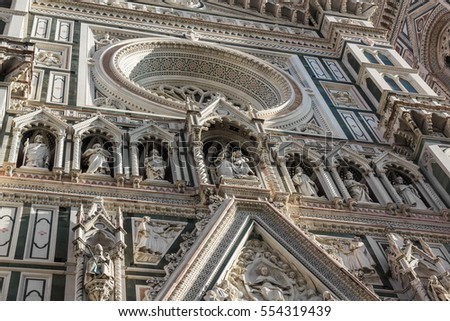 Facade of the Duomo in Florence, Italy. #554319439