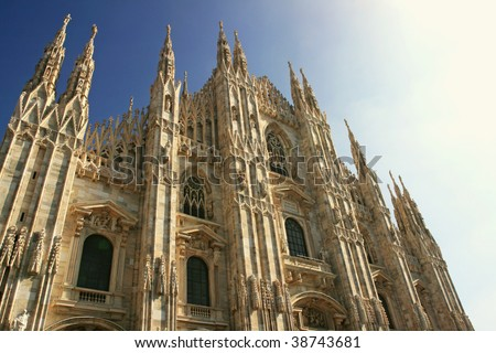 Facade of the Duomo, the cathedral of milan, Italy