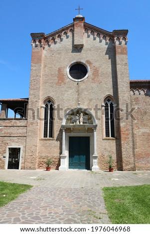 facade of the historic church in the island called Santa Elena near Venice in northern Italy Stok fotoğraf ©
