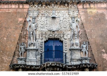 Facade of the House of Montejo, built in 1549, home of the Conqueror of Yucatan and founder of the city of Merida, Francisco de Montejo, El Mozo. #557651989
