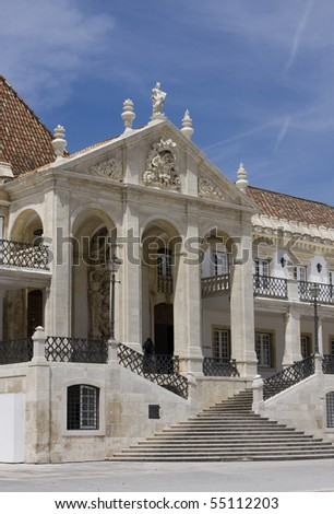 Facade of the main building of the Coimbra University - Portugal (it was founded on 1290 and it is one of the oldest university of the world)