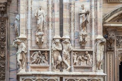 Facade of the Milan Cathedral. Milan cathedral is the third largest church in the world. Architecture.