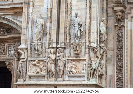 Facade of the Milan Cathedral. Milan cathedral is the third largest church in the world. Architecture. #1522742966