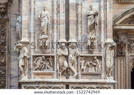 Facade of the Milan Cathedral. Milan cathedral is the third largest church in the world. Architecture. #1522742969