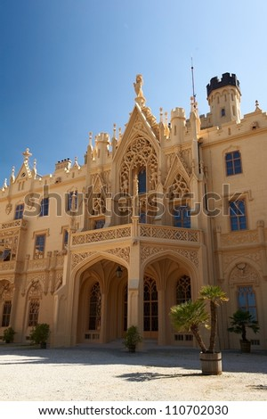 Facade of the neogothic Lednice castle