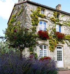 Facade of the old house in village France. The west of France, building.