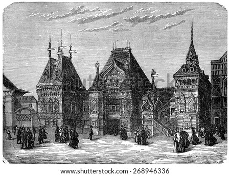 Facade of the Russian section at the 1878 Exposition, vintage engraved illustration. Industrial encyclopedia E.-O. Lami - 1875.  Foto stock ©