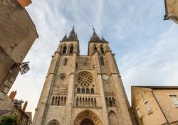 Facade of the Saint Nicolas Church against blue sky in Blois, Loire valley, France.