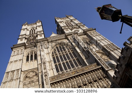 Facade of the Westminster Abbey in London