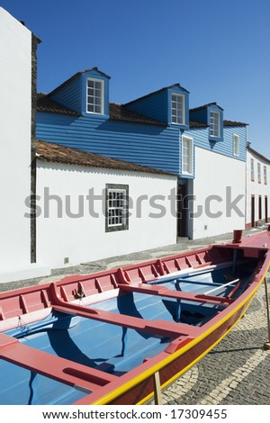 Facade of the Whalers Museum in  Lages do Pico, Pico island, Azores, Portugal #17309455