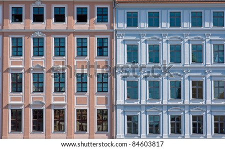 Facade of two old town houses in Dresden