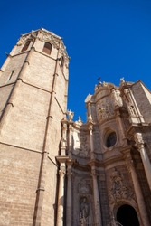 facade of Valencia cathedral in Spain