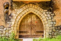 Facade Of Wooden Door At A Catholic Monastery In Dalat City, Vietnam.