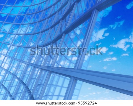 Facade -shapes from a modern building, with structural lines reflection