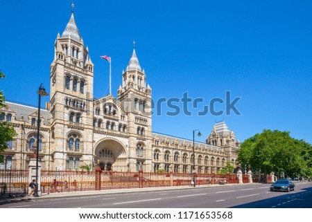 Facade view of Natural History Museum in London #1171653568