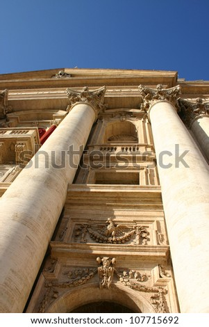 Facade view of Saint Peter church in Vatican, Rome